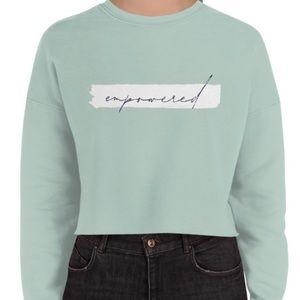 Mint Empowered Crop Sweatshirt